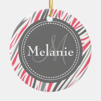 Modelo rosado y gris con monograma de la cebra adorno de navidad