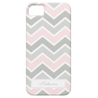Modelo rosado y gris de Chevron del zigzag iPhone 5 Fundas