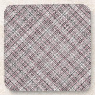 Modelo rosado y gris de la tela escocesa posavasos de bebidas