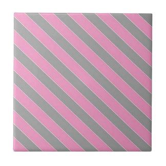 Modelo rosado y gris de las rayas azulejo cuadrado pequeño