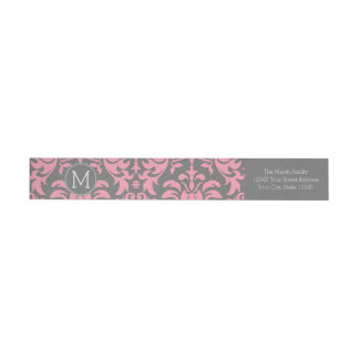 Modelo rosado y gris del damasco del vintage etiquetas postales