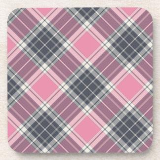 Modelo rosado y gris oscuro de la tela escocesa posavasos de bebidas