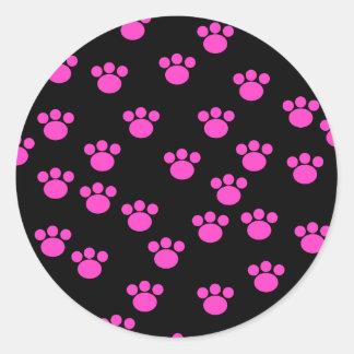 Modelo rosado y negro brillante de la impresión de pegatina redonda