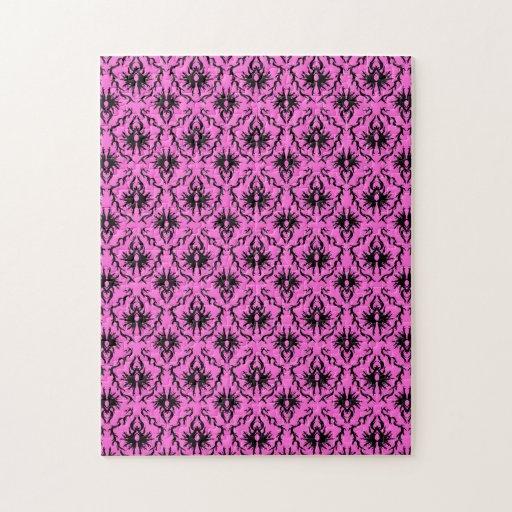 Modelo rosado y negro brillante del damasco rompecabezas con fotos