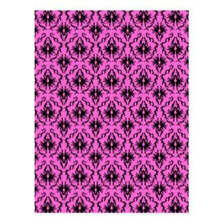 Modelo rosado y negro brillante del damasco postal