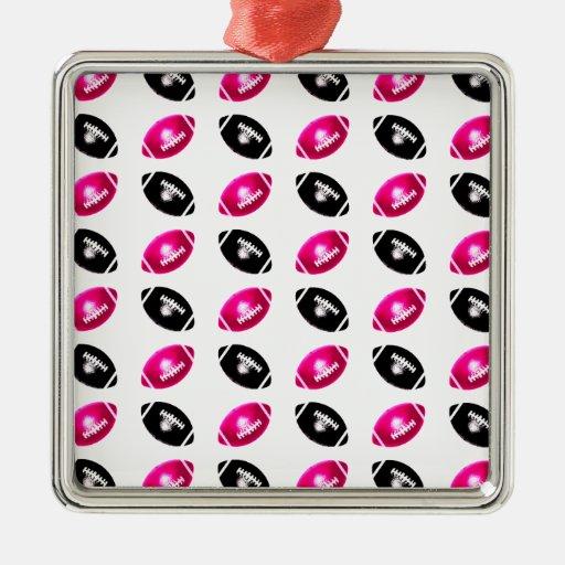 Modelo rosado y negro brillante del fútbol ornaments para arbol de navidad