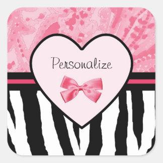 Modelo rosado y negro de moda de la cebra con pegatina cuadrada