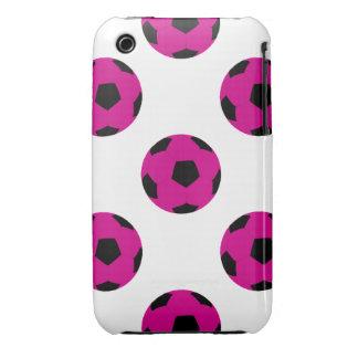 Modelo rosado y negro del balón de fútbol iPhone 3 fundas