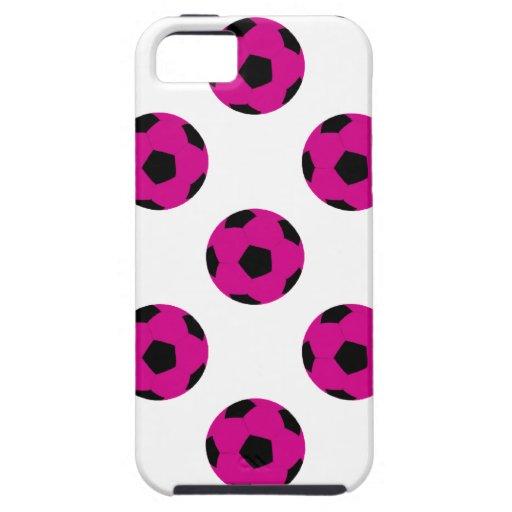 Modelo rosado y negro del balón de fútbol iPhone 5 funda