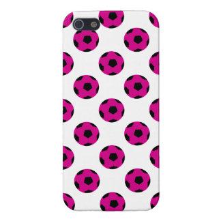 Modelo rosado y negro del balón de fútbol iPhone 5 fundas