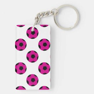 Modelo rosado y negro del balón de fútbol llavero rectangular acrílico a doble cara