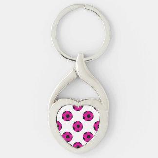 Modelo rosado y negro del balón de fútbol llaveros
