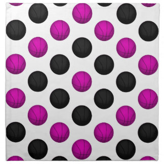 Modelo rosado y negro del baloncesto servilleta de papel