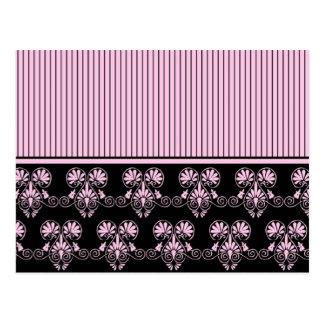 Modelo rosado y negro del corazón (2) tarjetas postales