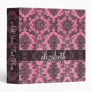 """Modelo rosado y negro del damasco del vintage con carpeta 1 1/2"""""""