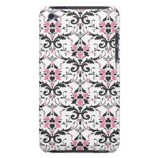 Modelo rosado y negro del damasco iPod Case-Mate fundas