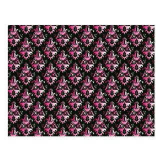 Modelo rosado y negro del damasco tarjetas postales