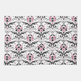 Modelo rosado y negro del damasco toallas de cocina