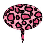Modelo rosado y negro del estampado leopardo figura para tarta