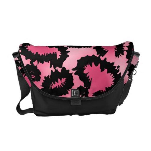 Modelo rosado y negro del estampado leopardo bolsas de mensajería