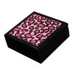 Modelo rosado y negro del estampado leopardo cajas de joyas