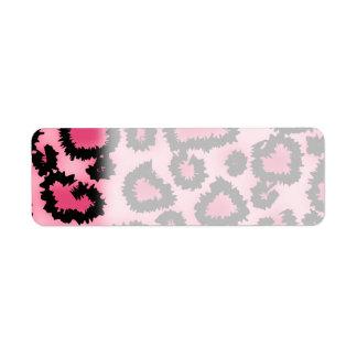 Modelo rosado y negro del estampado leopardo etiqueta de remitente