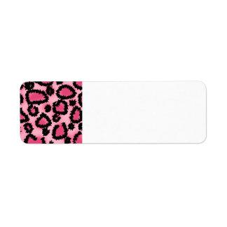 Modelo rosado y negro del estampado leopardo etiquetas de remite