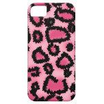 Modelo rosado y negro del estampado leopardo iPhone 5 cobertura