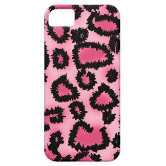 Modelo rosado y negro del estampado leopardo iPhone 5 fundas