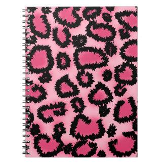 Modelo rosado y negro del estampado leopardo cuadernos
