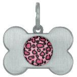 Modelo rosado y negro del estampado leopardo placa de nombre de mascota