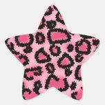 Modelo rosado y negro del estampado leopardo calcomanías forma de estrellas personalizadas