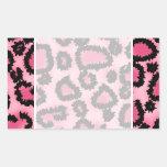Modelo rosado y negro del estampado leopardo rectangular pegatinas