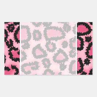 Modelo rosado y negro del estampado leopardo pegatina rectangular