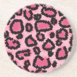 Modelo rosado y negro del estampado leopardo posavasos para bebidas