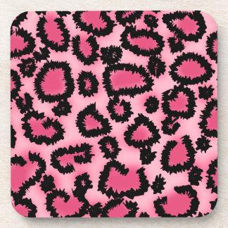 Modelo rosado y negro del estampado leopardo posavasos de bebidas
