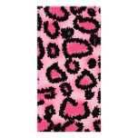 Modelo rosado y negro del estampado leopardo tarjetas con fotos personalizadas