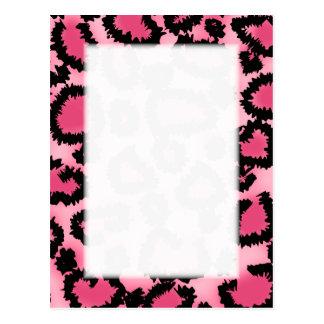 Modelo rosado y negro del estampado leopardo tarjeta postal