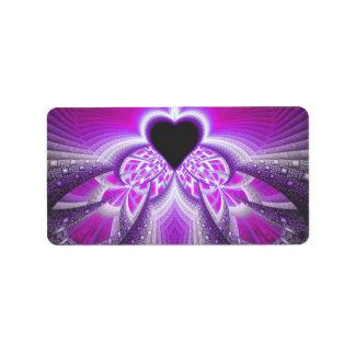 Modelo rosado y púrpura abstracto del fractal etiqueta de dirección