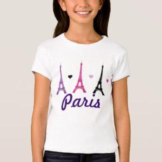 Modelo rosado y púrpura de la torre Eiffel Playera