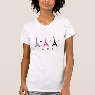 Modelo rosado y púrpura de la torre Eiffel Camisetas