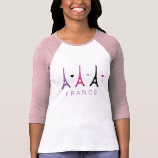 Modelo rosado y púrpura de la torre Eiffel Remeras