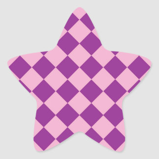 Modelo rosado y púrpura de los cuadrados pegatina en forma de estrella