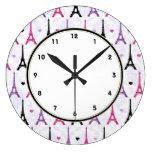 Modelo rosado y púrpura de París de la torre Eiffe Reloj