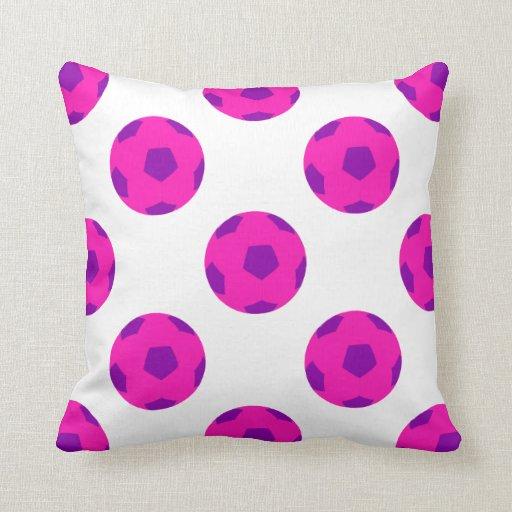 Modelo rosado y púrpura de Soccerball Cojines