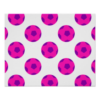 Modelo rosado y púrpura del balón de fútbol póster