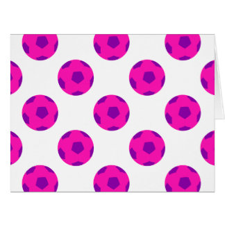 Modelo rosado y púrpura del balón de fútbol tarjeta de felicitación grande