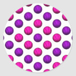 Modelo rosado y púrpura lindo del baloncesto pegatinas redondas