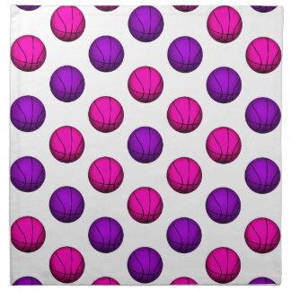 Modelo rosado y púrpura lindo del baloncesto servilletas de papel