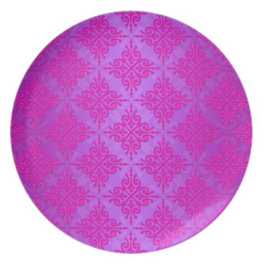 Modelo rosado y púrpura lindo del damasco plato de comida